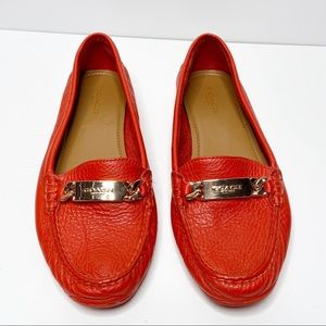 COACH Olive Leather Loafer Watermelon Red Size 7.5